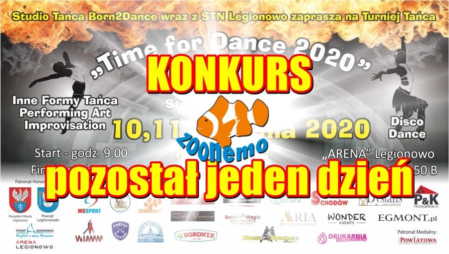 """TURNIEJ TAŃCA """"Time for Dance"""" –  KONKURS FACEBOOK, jeszcze tylko jeden dzień !!!"""