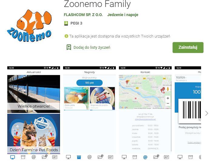 Aplikacja do gromadzenia punktów lojalnościowych za zakupy dokonywane w sieci sklepów Zoonemo